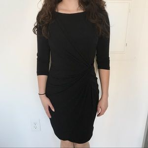 Catherine Malandrino Ruched Black Dress 3/4 Sleeve